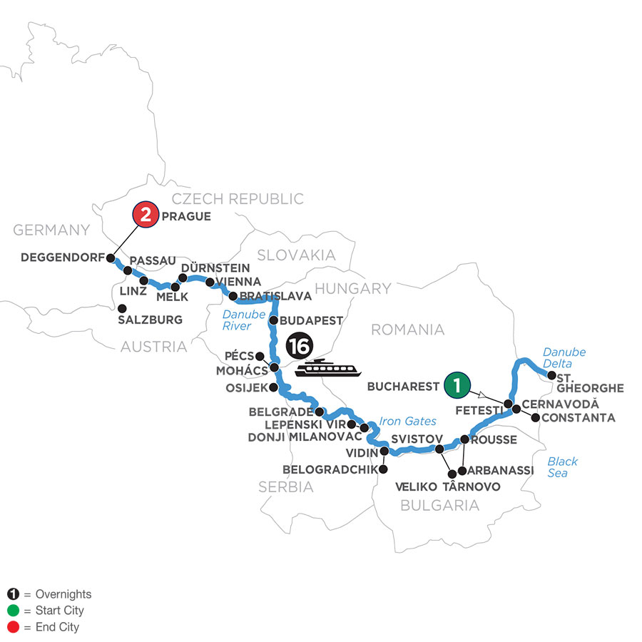 River Cruise Map of The Danube from the Black Sea to Germany with 2 Nights in Prague
