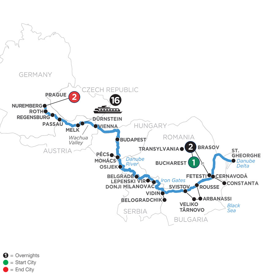 River Cruise Map of The Complete Danube with 2 Nights in Transylvania & 2 Nights in Prague