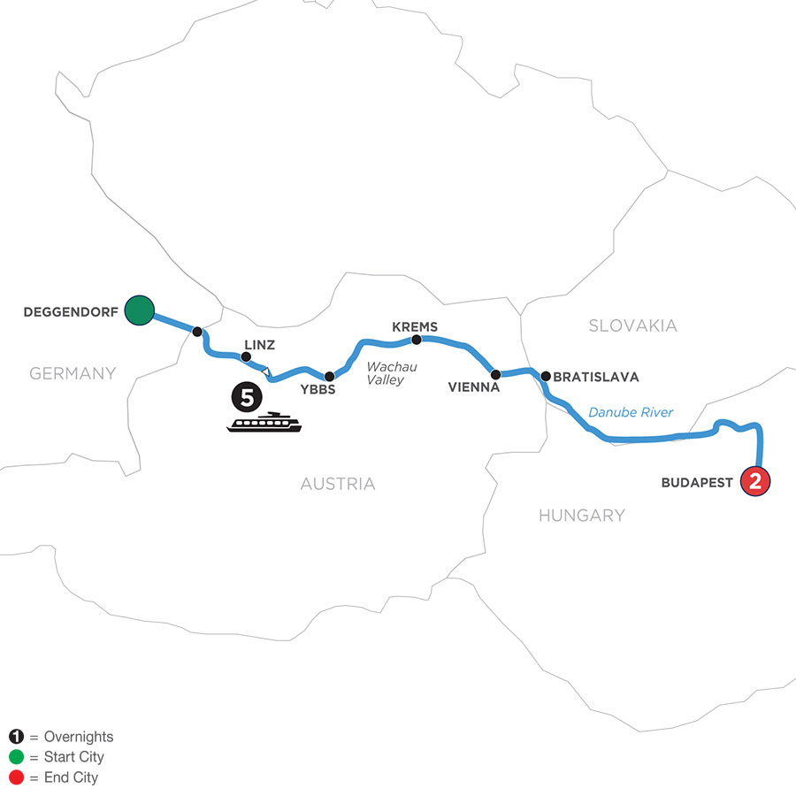 River Cruise Map of Danube Symphony with 2 Nights in Budapest