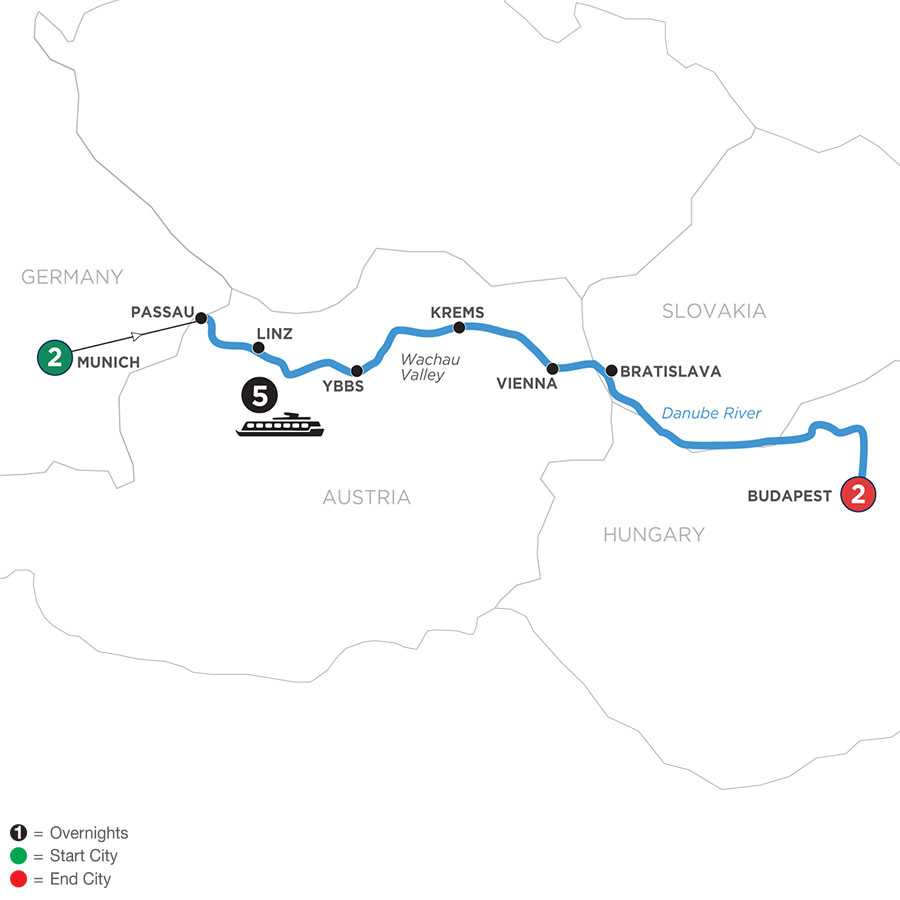 River Cruise Map of Danube Symphony with 2 Nights in Munich & 2 Nights in Budapest