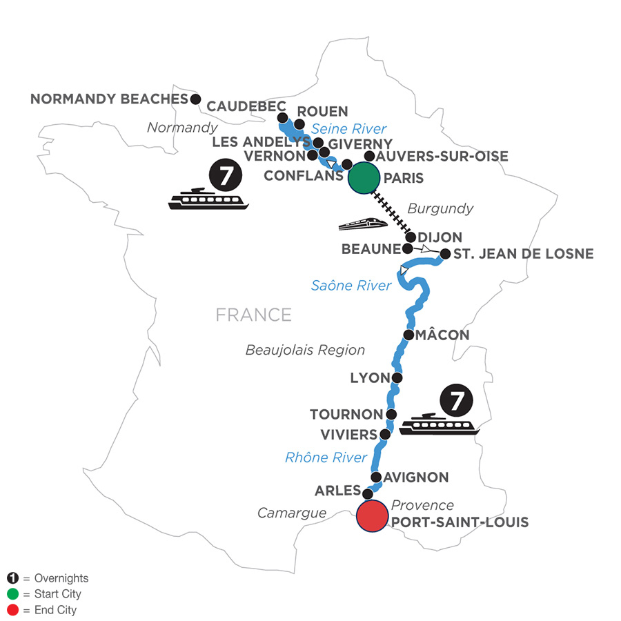River Cruise Map of Grand France for Wine Lovers (Southbound)
