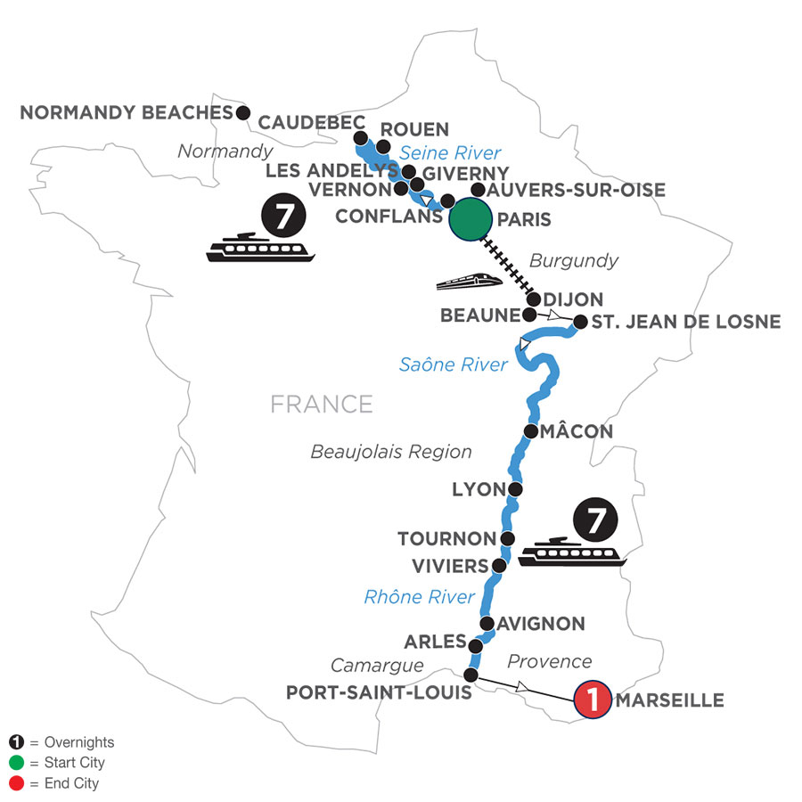 River Cruise Map of Grand France with 1 Night in Marseille (Southbound)