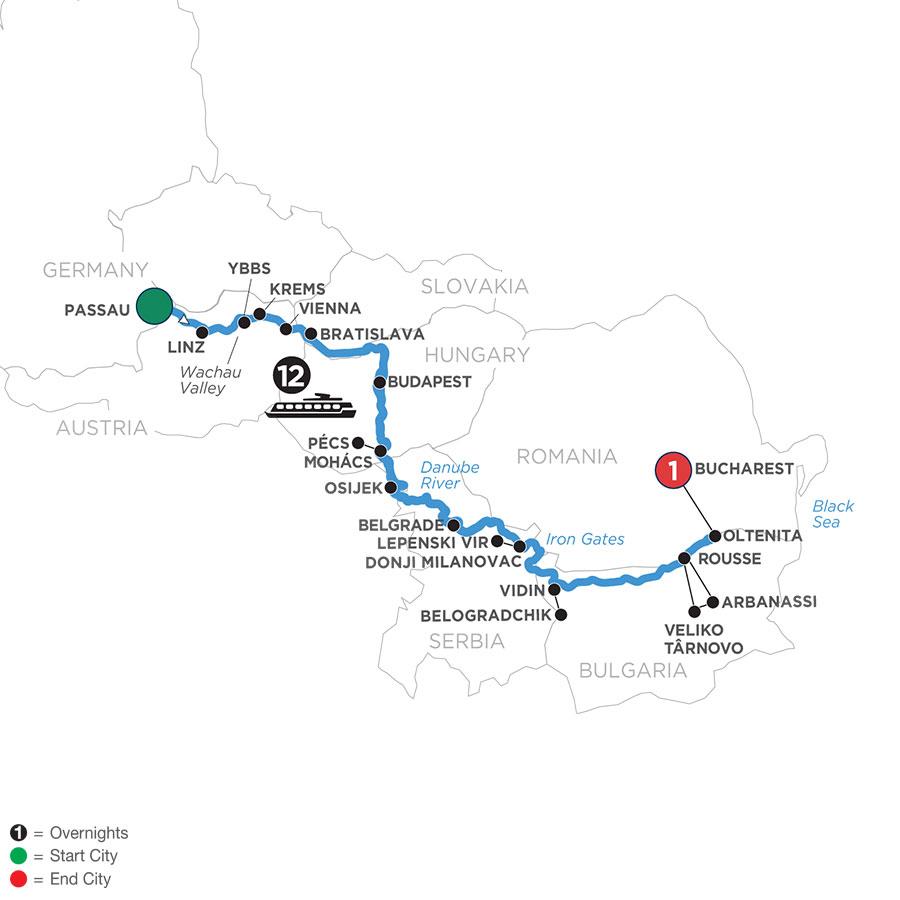 River Cruise Map of Danube Serenade