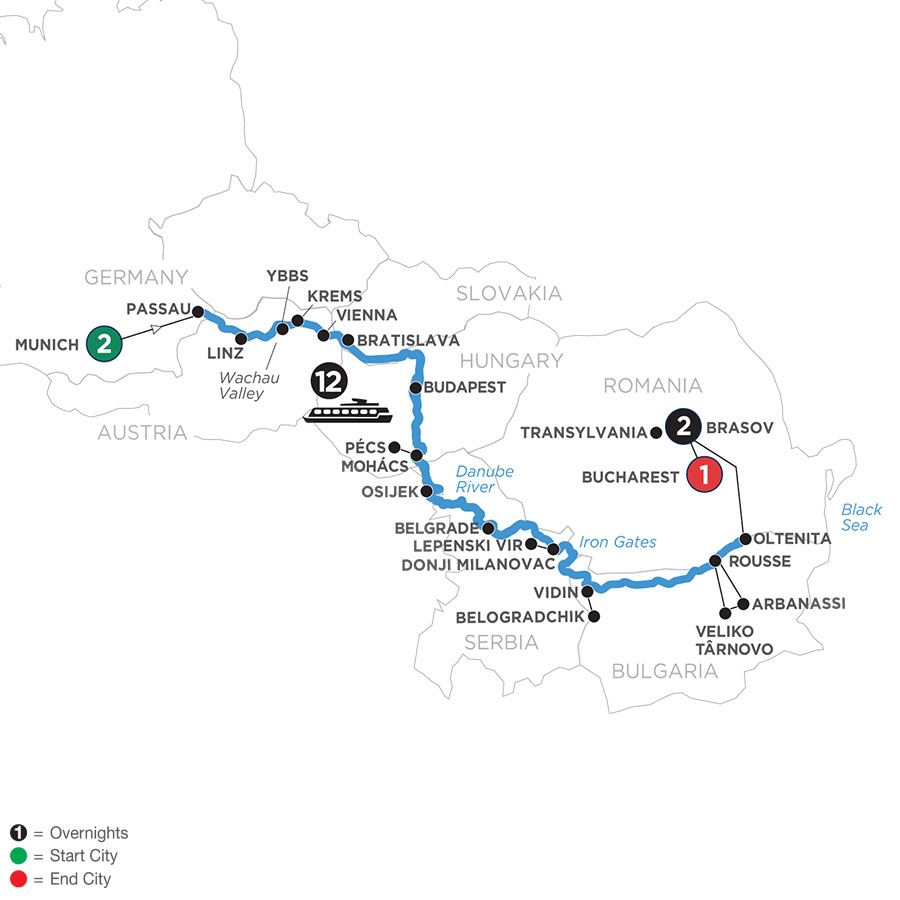 River Cruise Map of Danube Serenade with 2 Nights in Munich & 2 Nights in Transylvania