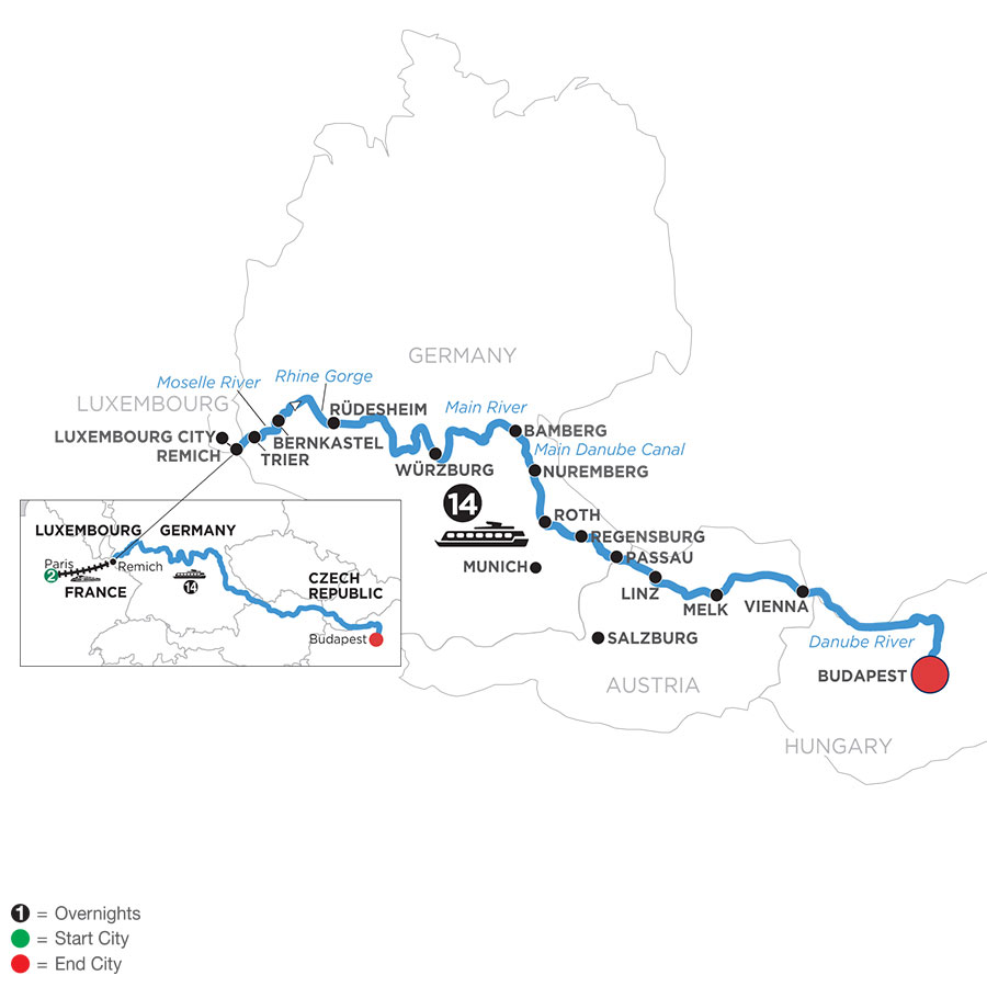River Cruise Map of Jewels of Central Europe with 2 Nights in Paris (Eastbound)