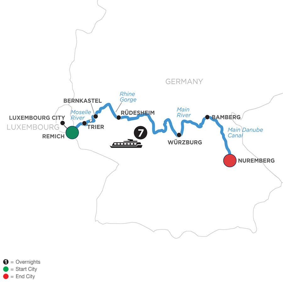 River Cruise Map of Central European Experience (Eastbound)