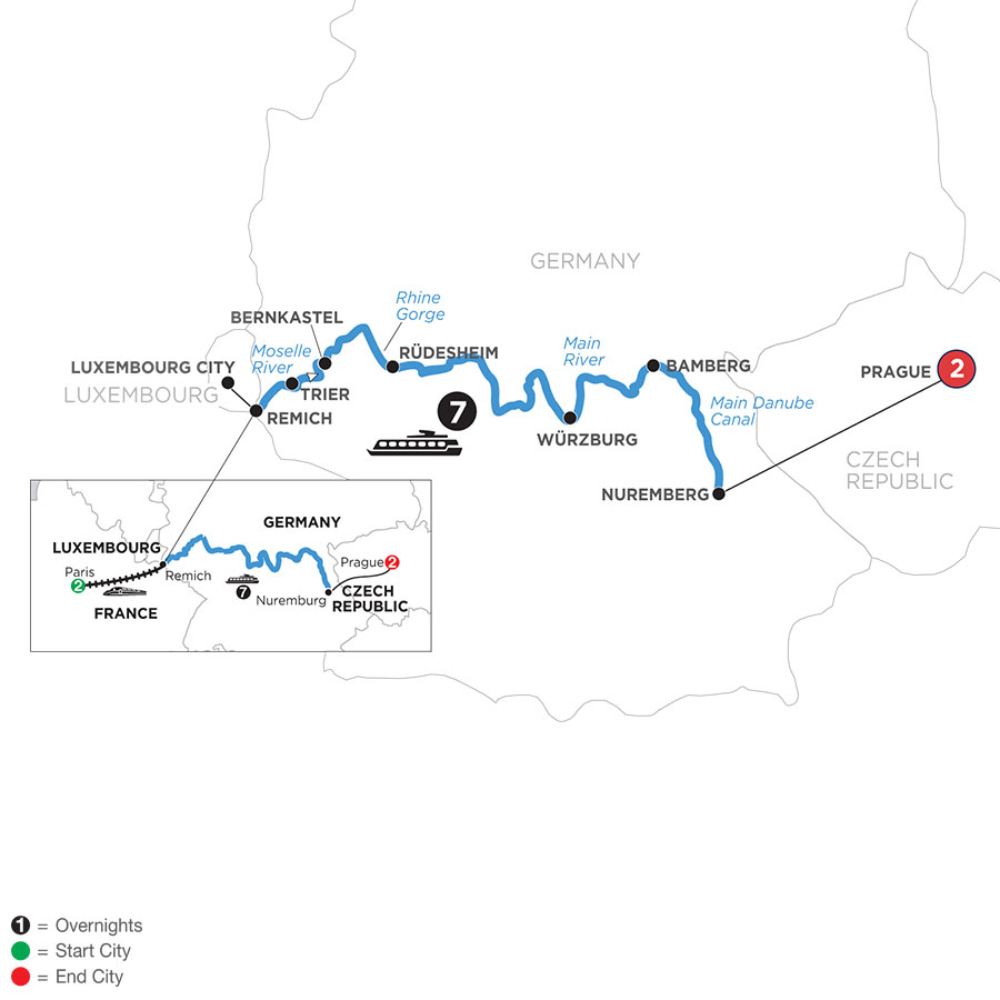 River Cruise Map of Central European Experience with 2 Nights in Paris & 2 Nights in Prague (Eastbound)