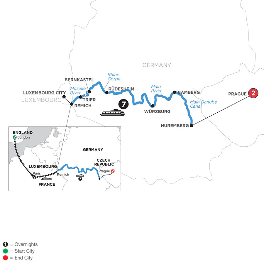 River Cruise Map of Central European Experience with 2 Nights in London, 2 Nights in Paris & 2 Nights in Prague (Eastbound)