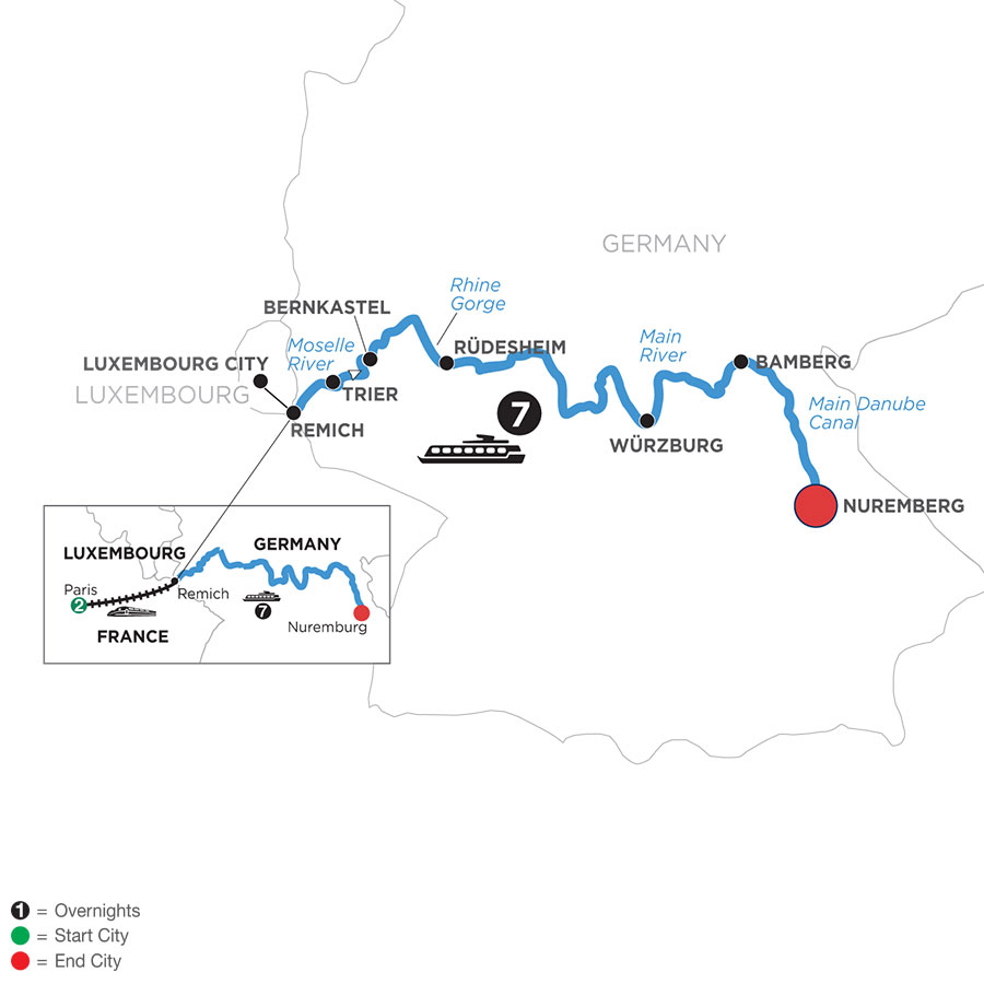 River Cruise Map of Central European Experience with 2 Nights in Paris (Eastbound)