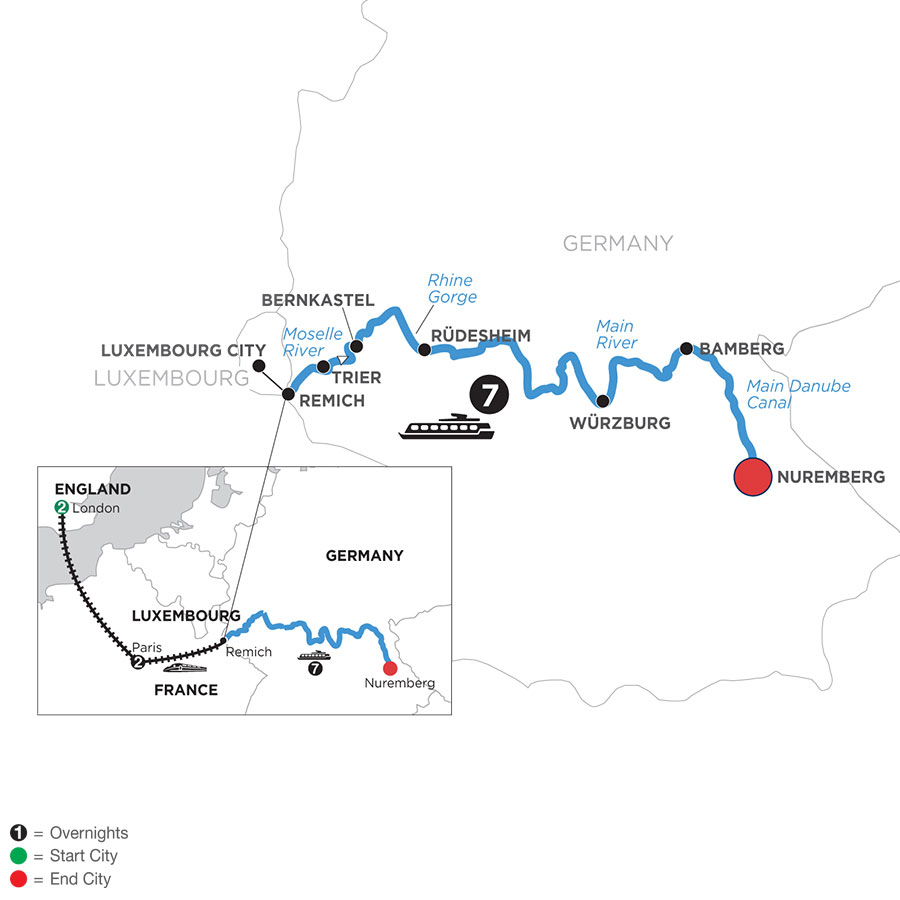 River Cruise Map of Central European Experience with 2 Nights in London & 2 Nights in Paris (Eastbound)