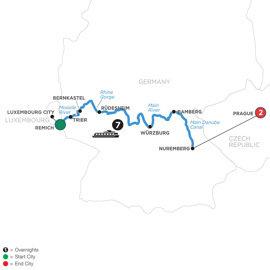 River Cruise Map of Central European Experience with 2 Nights in Prague (Eastbound)