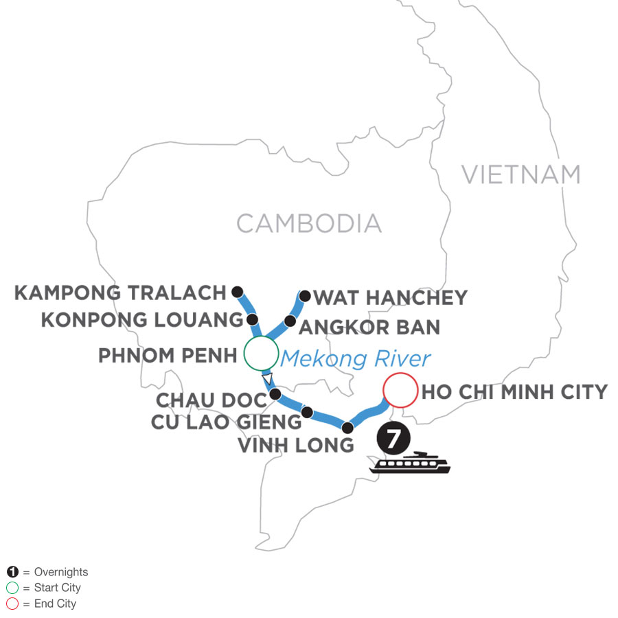 River Cruise Map of Mekong Discovery (Southbound)