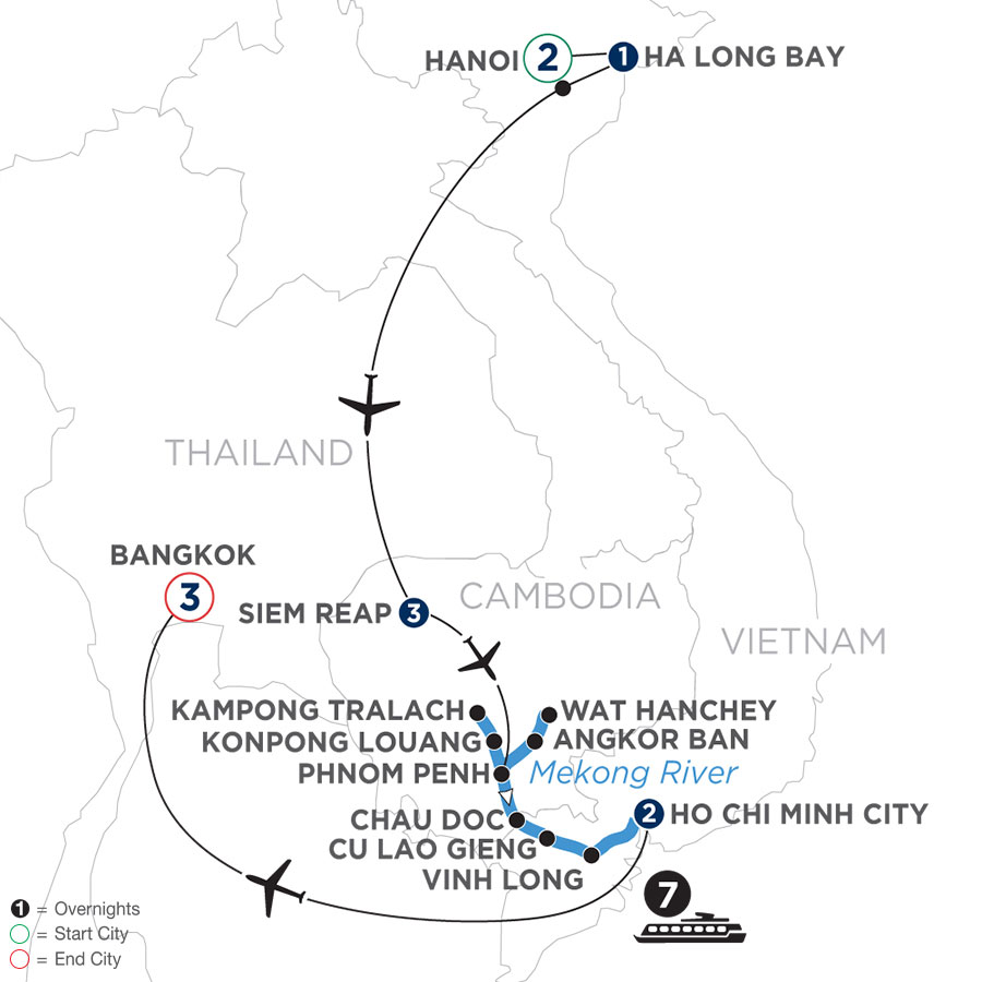 River Cruise Map of Fascinating Vietnam, Cambodia & the Mekong River with Hanoi, Ha Long Bay & Bangkok (Southbound)