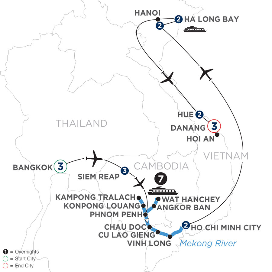 River Cruise Map of The Heart of Cambodia & Vietnam with Bangkok, Hue & Danang (Southbound)