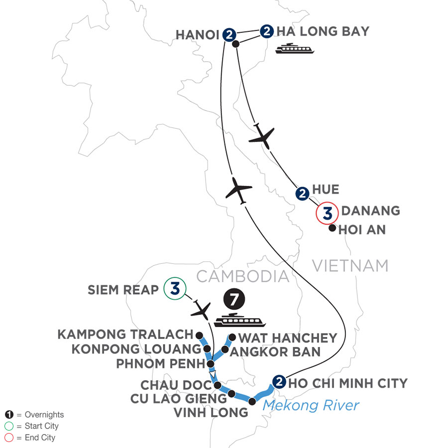 River Cruise Map of The Heart of Cambodia & Vietnam with Hue & Danang (Southbound)