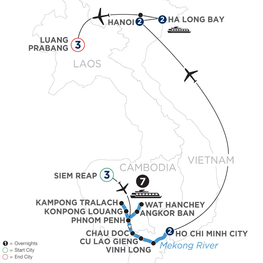River Cruise Map of The Heart of Cambodia & Vietnam with Luang Prabang (Southbound)