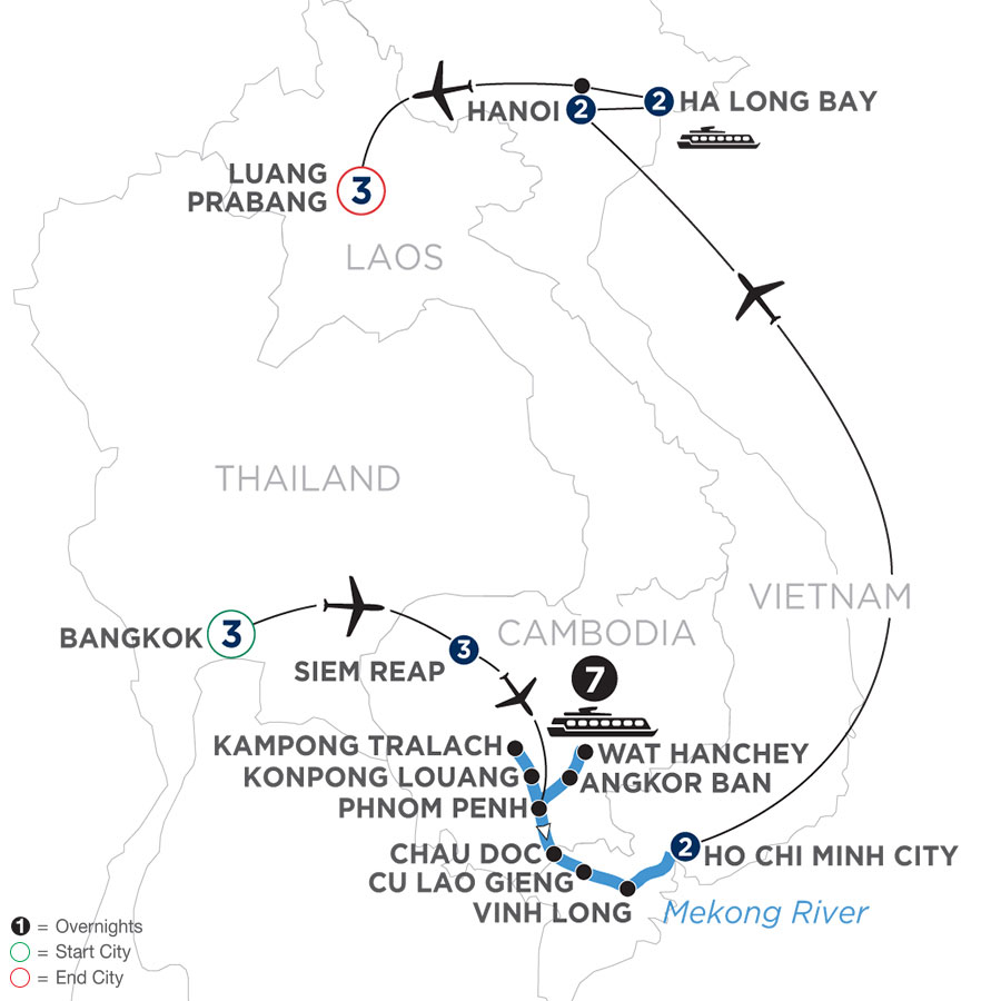 River Cruise Map of The Heart of Cambodia & Vietnam with Bangkok & Luang Prabang (Southbound)