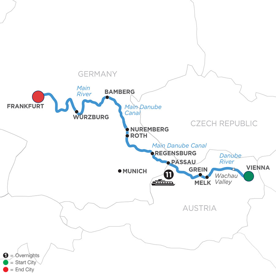 River Cruise Map of Christmastime from Vienna to Frankfurt