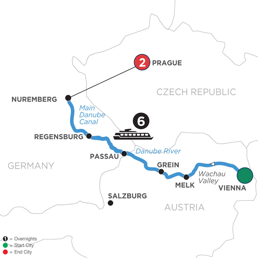 River Cruise Map of Christmastime on the Danube with 2 Nights in Prague (Westbound)
