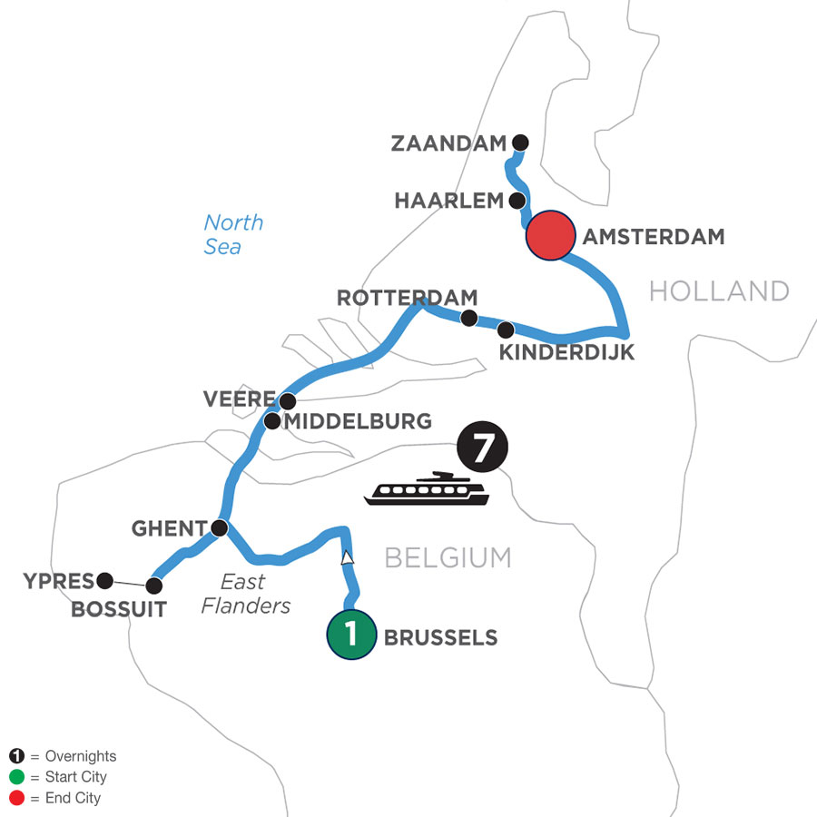 River Cruise Map of Tulip Time Highlights with 1 Night in Brussels