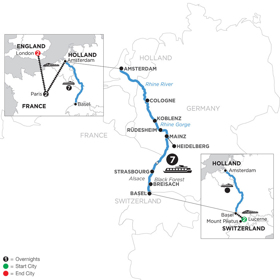 River Cruise Map of Romantic Rhine with 2 Nights in Lucerne, 2 Nights In Paris & 2 Nights in London (Northbound)