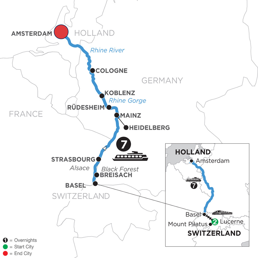 River Cruise Map of Romantic Rhine with 2 Nights in Lucerne with Jewish Heritage (Northbound)