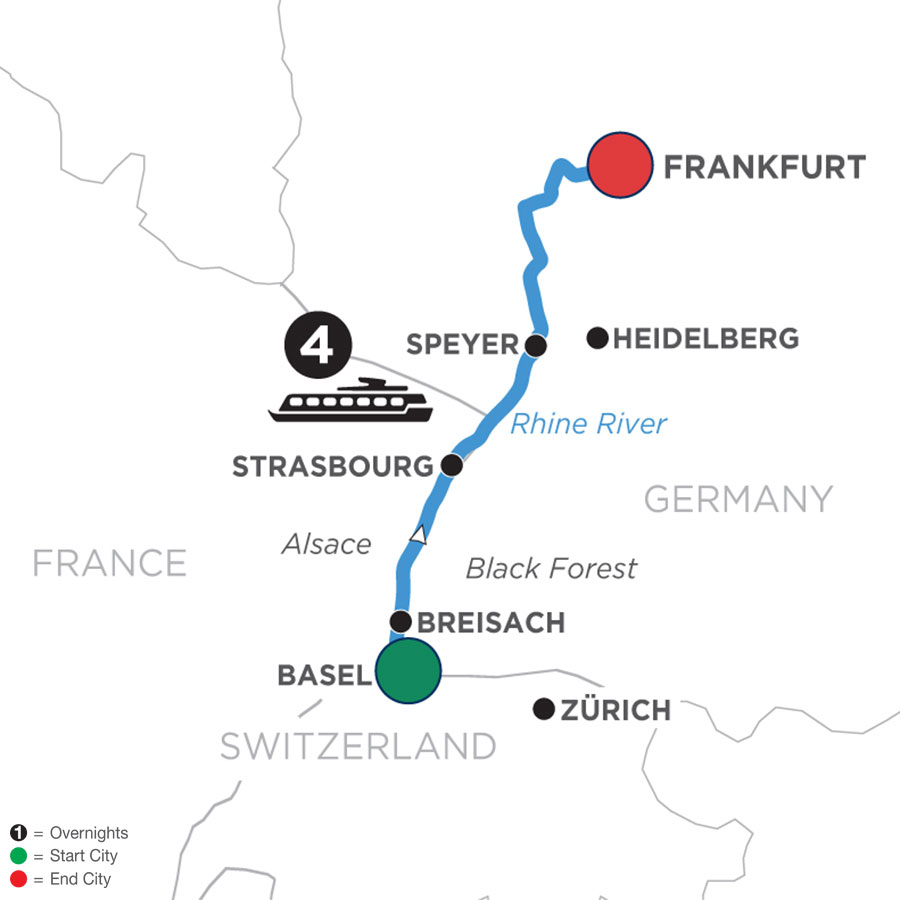 River Cruise Map of Christmastime in Alsace & Germany (Northbound)
