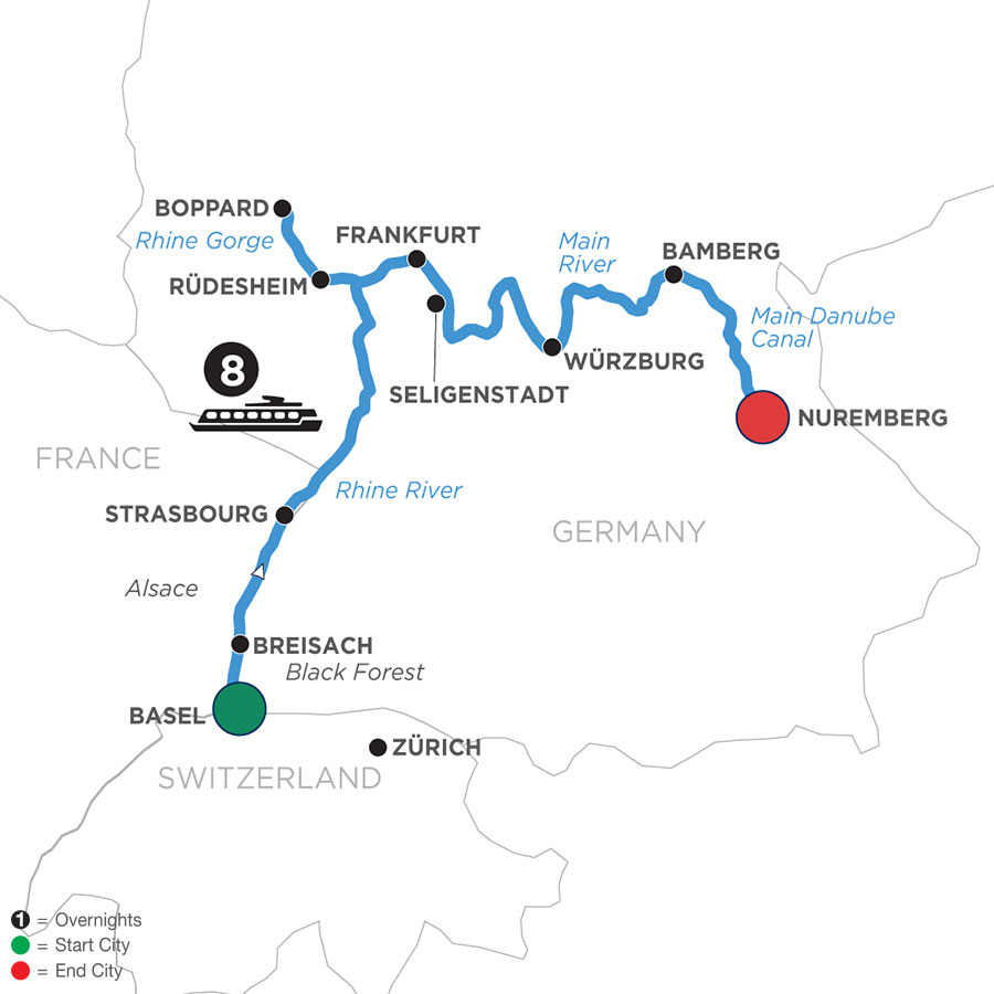 River Cruise Map of German Grandeur (Eastbound)