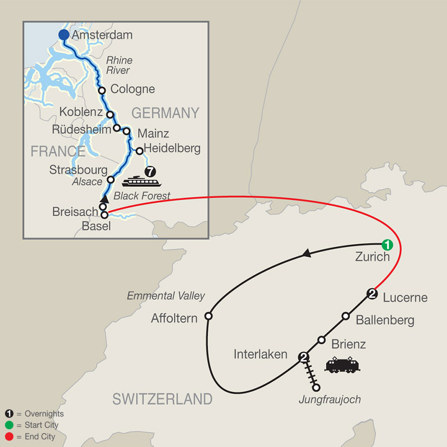 River Cruise Map of Top of Switzerland with Romantic Rhine