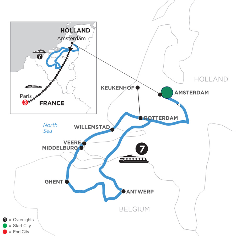 River Cruise Map of Tulip Time Cruise with 3 Nights in Paris for Garden & Nature Lovers