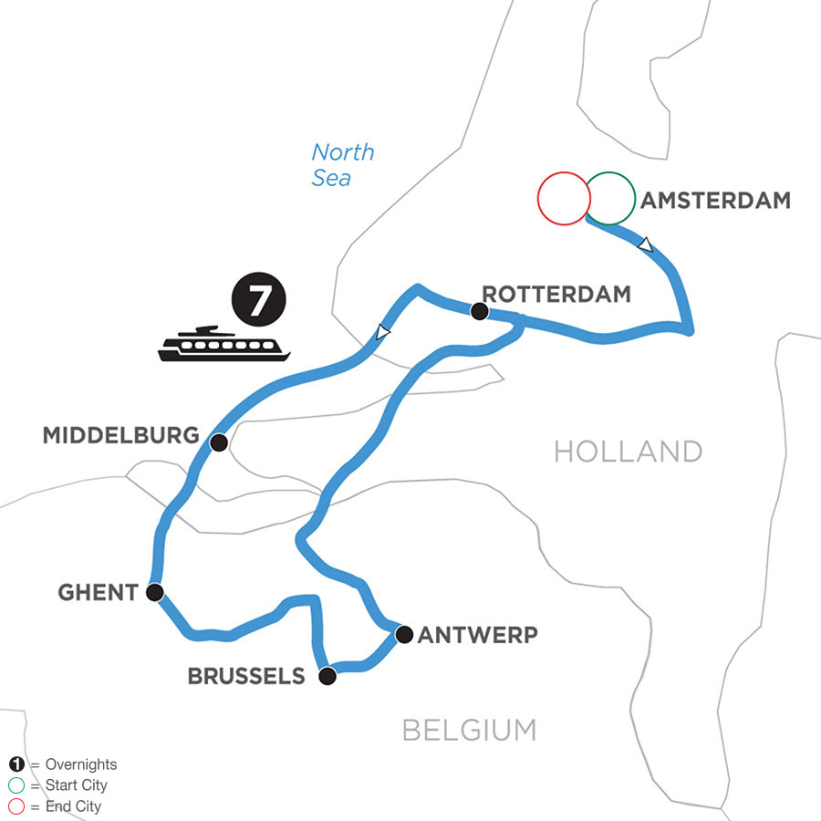 River Cruise Map of Active & Discovery in Holland & Belgium