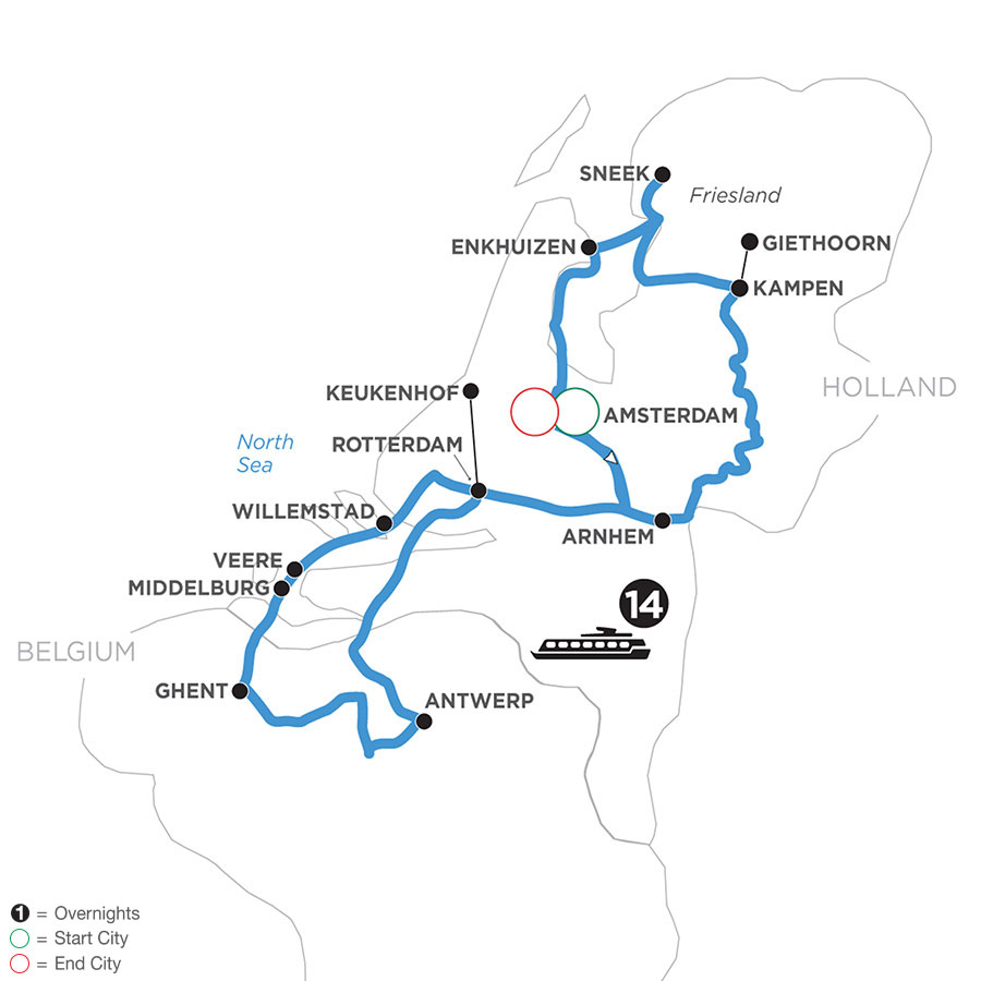 River Cruise Map of Springtime in Holland & Belgium