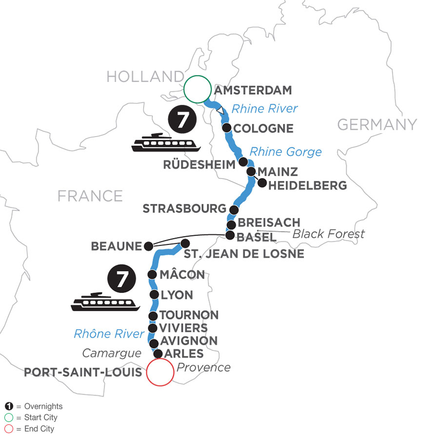 River Cruise Map of Rhine & Rhône Revealed