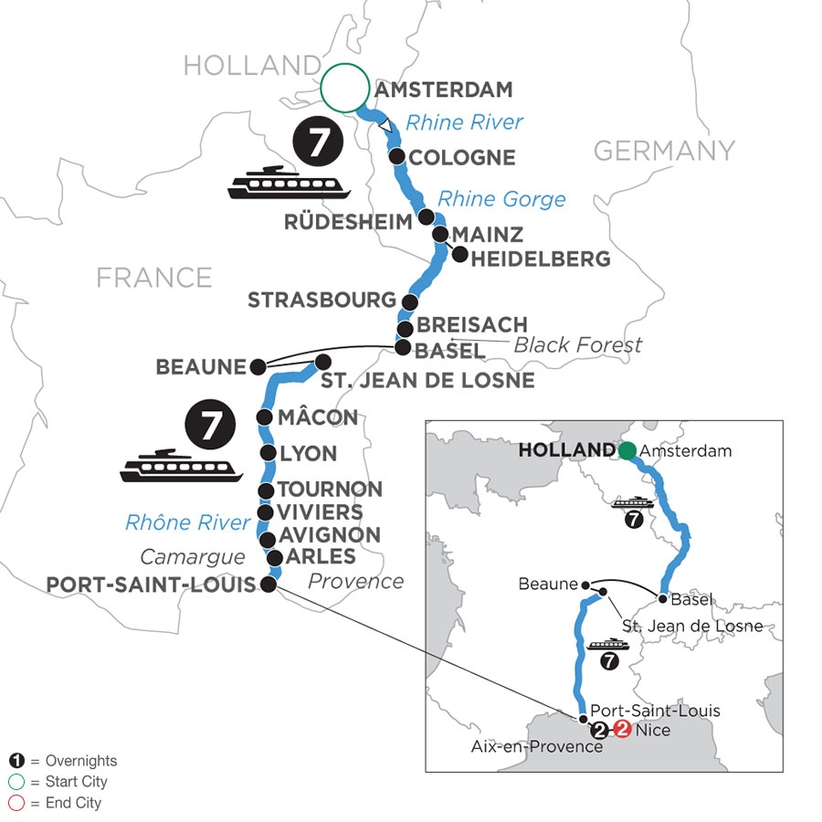 River Cruise Map of Rhine & Rhône Revealed with 2 Nights in Aix-en-Provence & 2 Nights in Nice (Southbound)