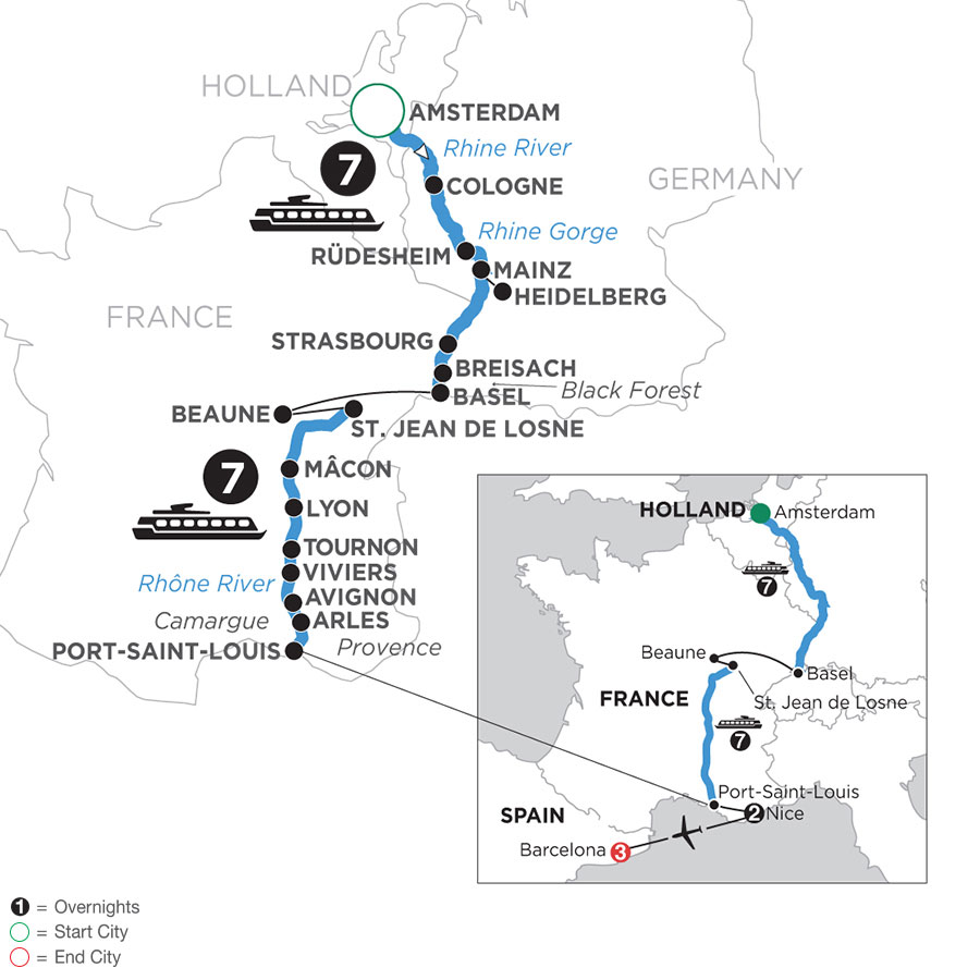 River Cruise Map of Rhine & Rhône Revealed with 2 nights in Nice & 3 nights in Barcelona