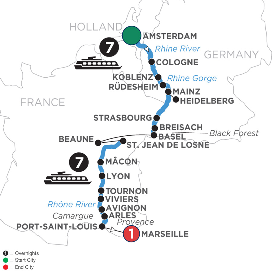 River Cruise Map of A Culinary Experience on Rhine & Rhône Revealed with 1 Night in Marseille (Southbound)