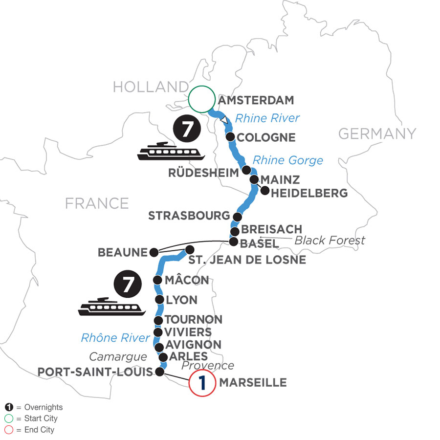 River Cruise Map of Rhine & Rhône Revealed with 1 Night in Marseille (Southbound)