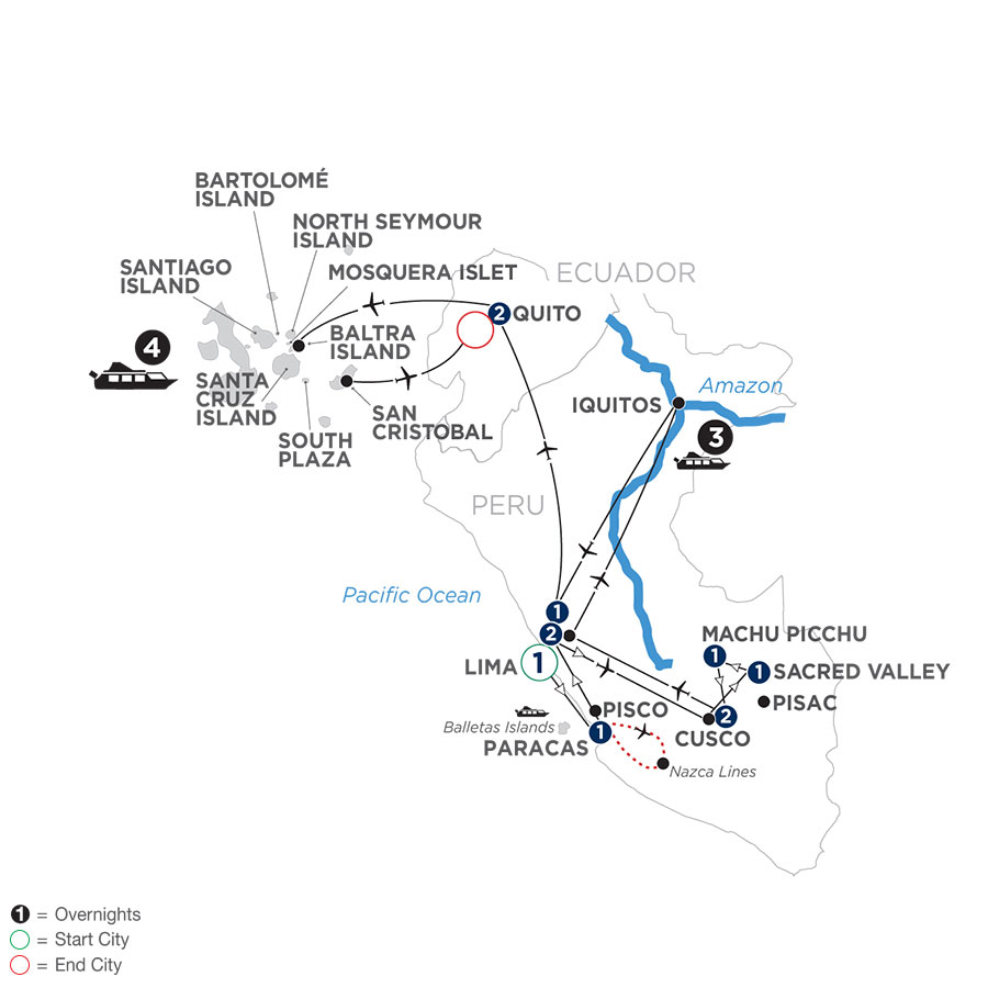 River Cruise Map of From the Inca Empire to the Peruvian Amazon with the Nazca Lines & Galápagos Cruise