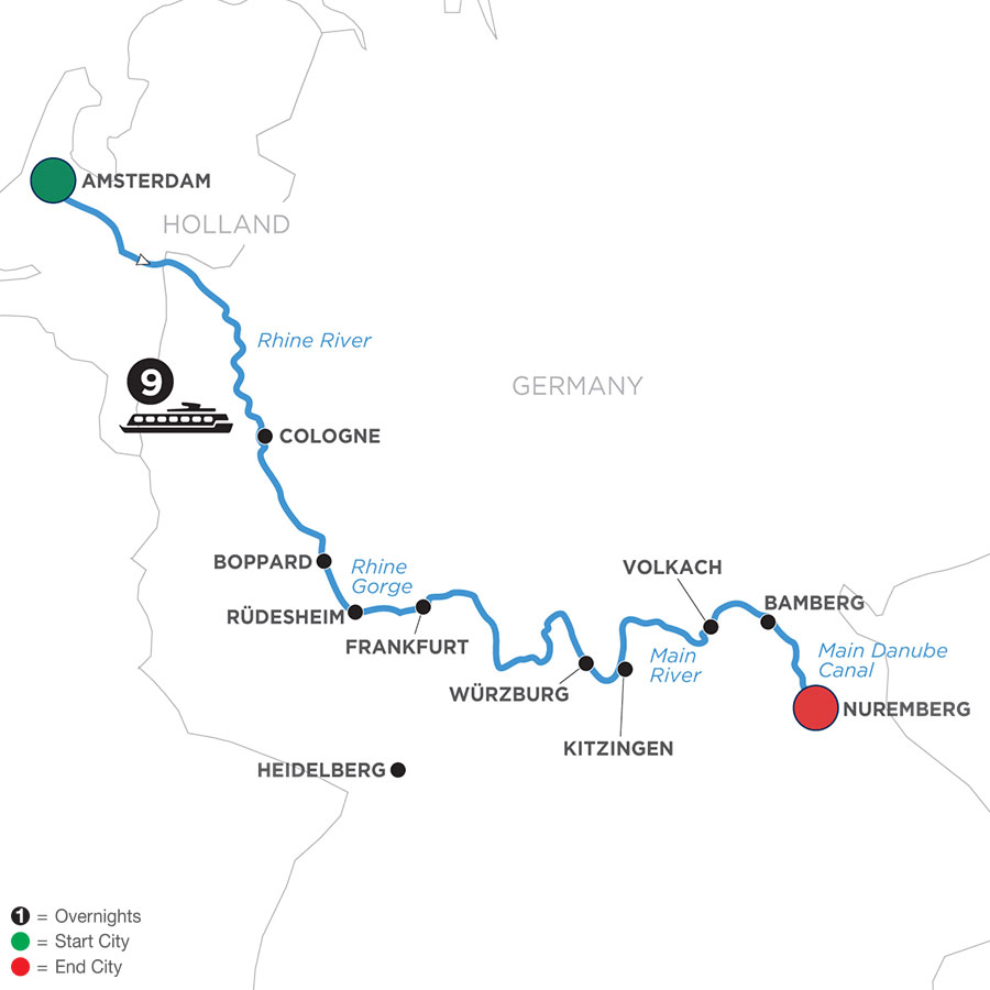 River Cruise Map of Grand German Sojourn