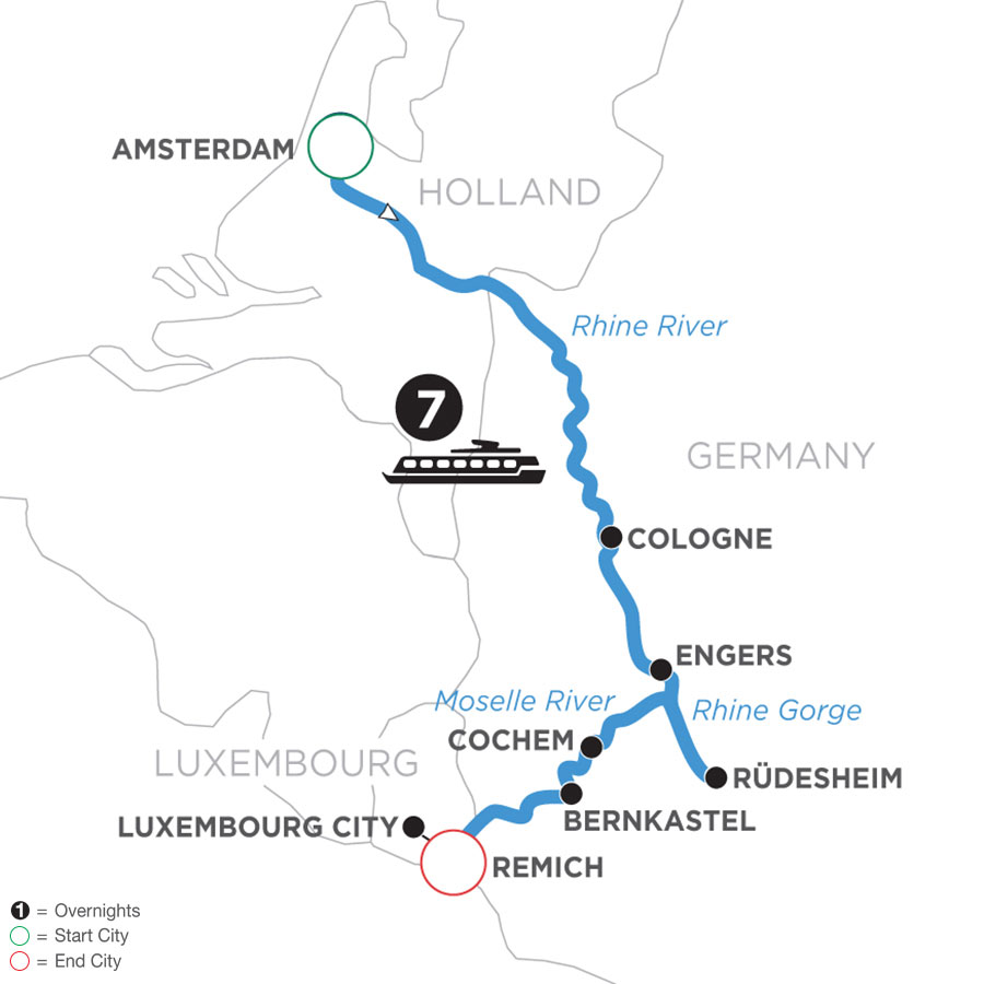 River Cruise Map of The Rhine & Moselle: Canals, Vineyards & Castles (Southbound)