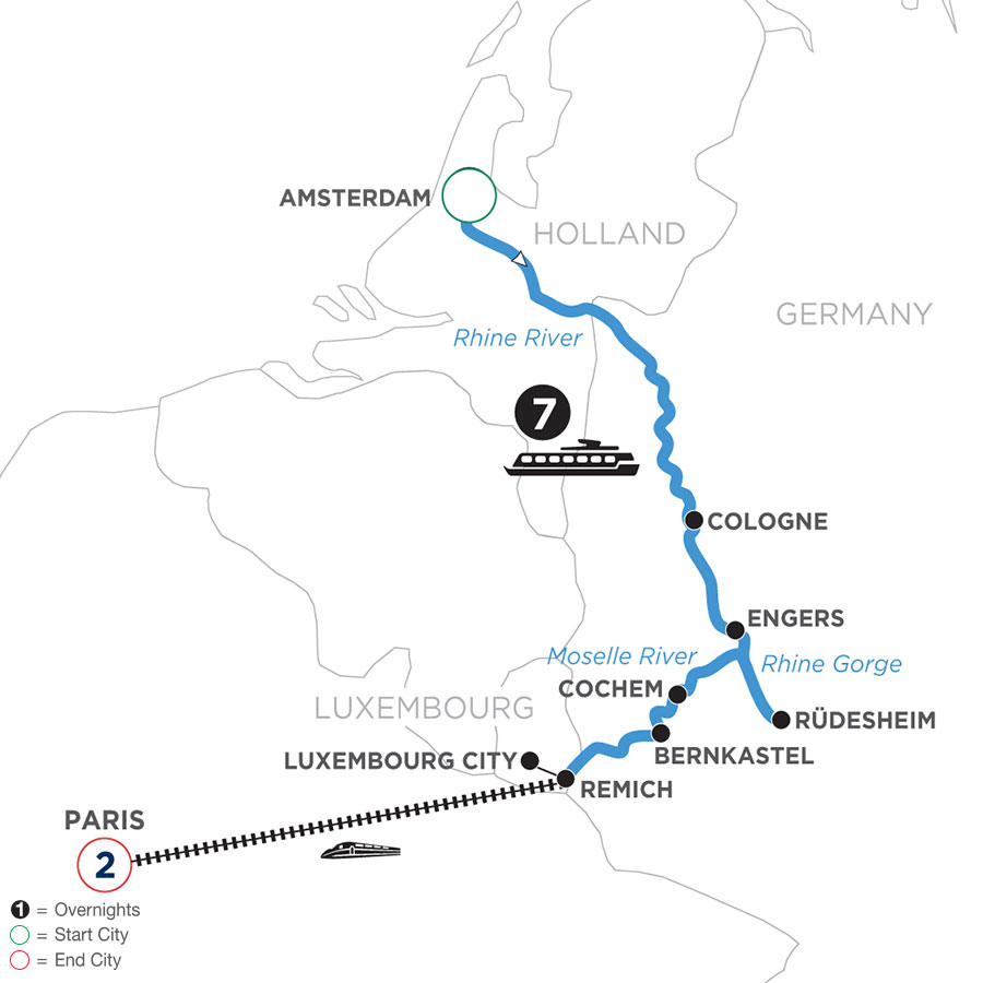 River Cruise Map of The Rhine & Moselle: Canals, Vineyards & Castles with 2 nights in Paris