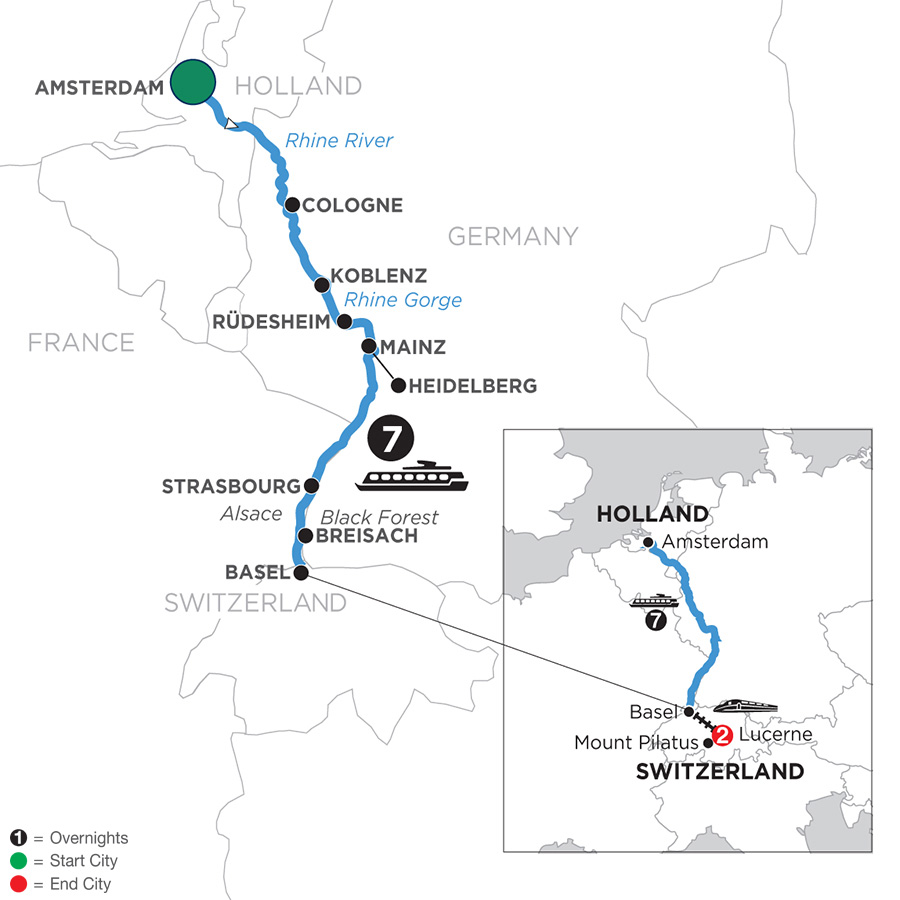 River Cruise Map of Festive Season on the Romantic Rhine with 2 Nights in Lucerne (Southbound)