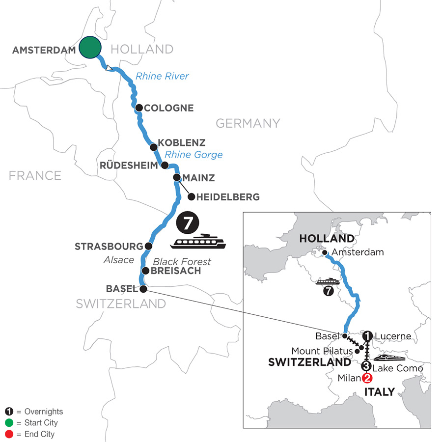 River Cruise Map of Festive Season on the Romantic Rhine with Mount Pilatus, 1 Night in Lucerne, 3 Nights in Lake Como & 2 Nights in Milan (Southbound)