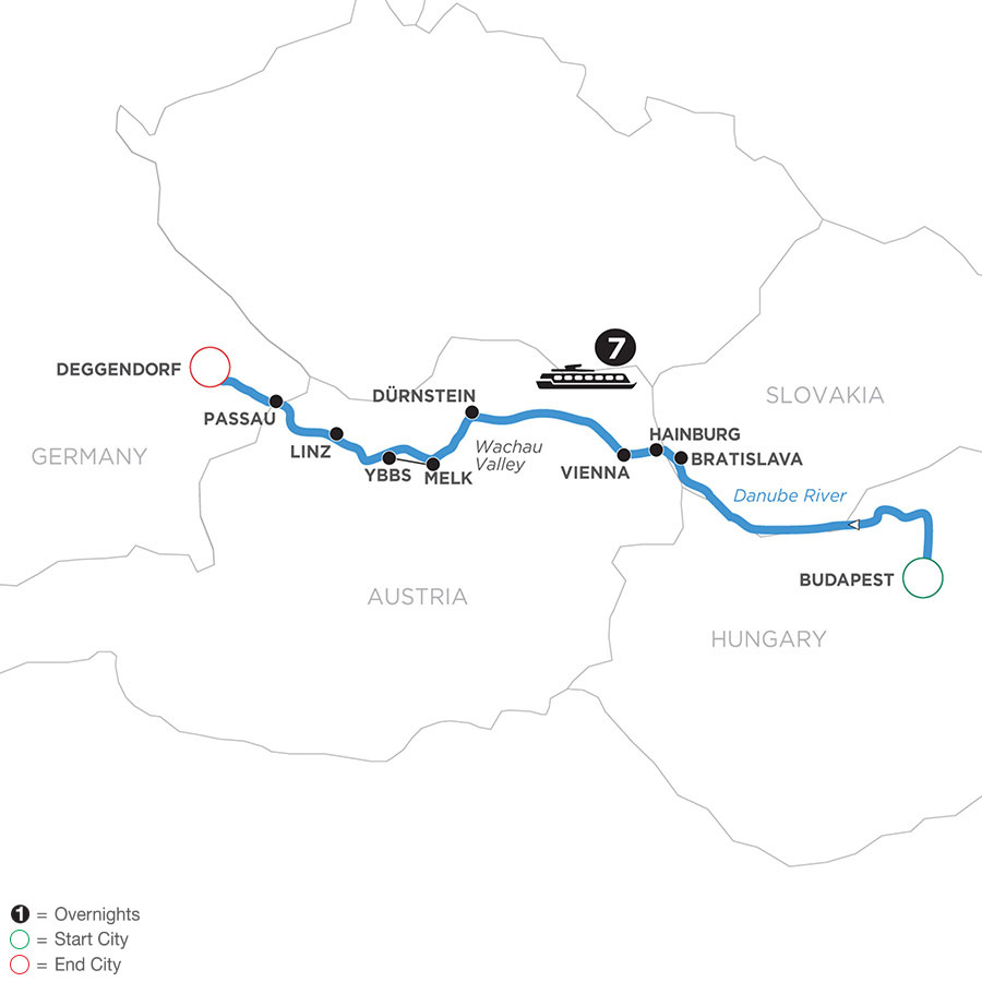 River Cruise Map of Danube Dreams (Westbound)