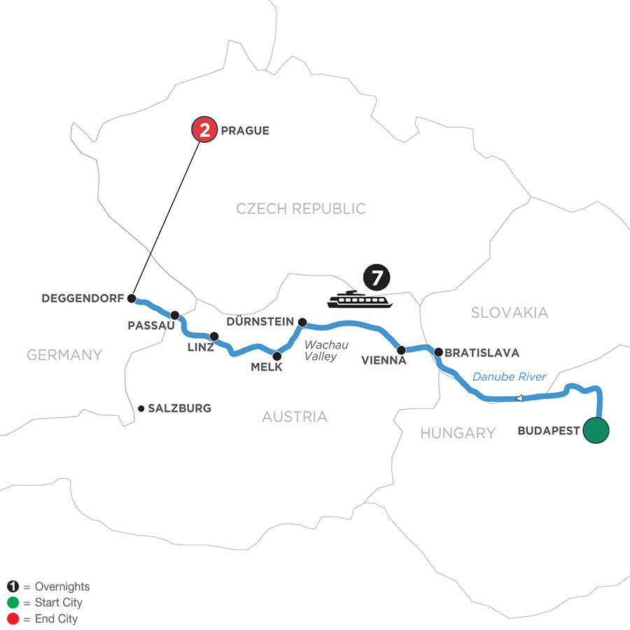 River Cruise Map of Danube Dreams with 2 Nights in Prague with Habsburg & Royalty (Westbound)
