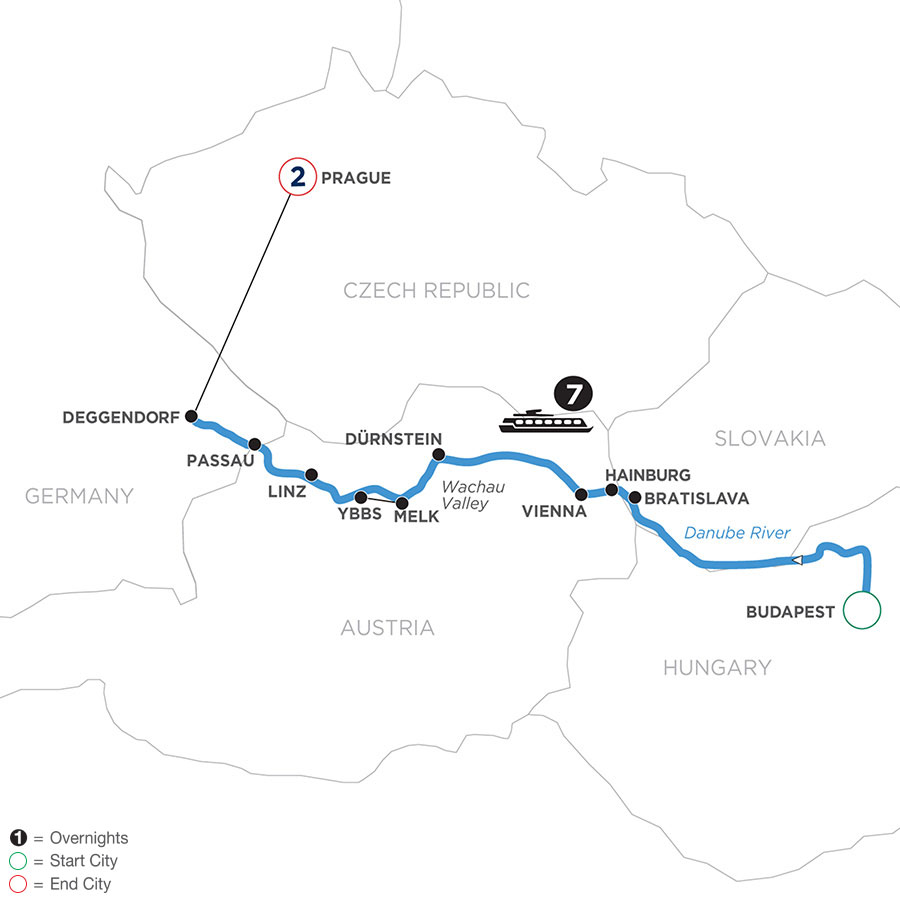 River Cruise Map of Danube Dreams with 2 Nights in Prague (Westbound)