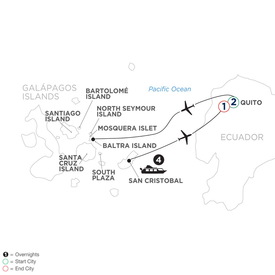 River Cruise Map of Ecuador & Its Galápagos Islands