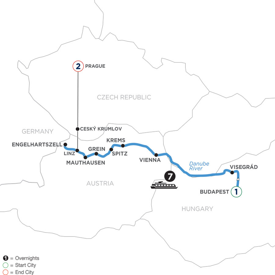 River Cruise Map of WBLP Active & Discovery on the Danube with 2 nights in Prague