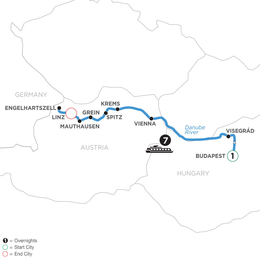 River Cruise Map of Active & Discovery on the Danube with 1 night in Budapest (westbound)