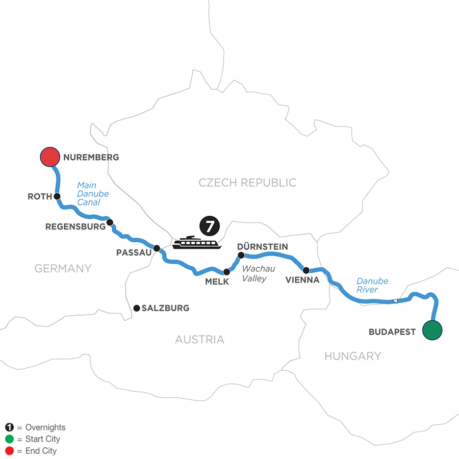 River Cruise Map of Festive Season on The Blue Danube Discovery